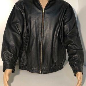 ST JOHN'S Bay mens black soft leather bomber L EUC